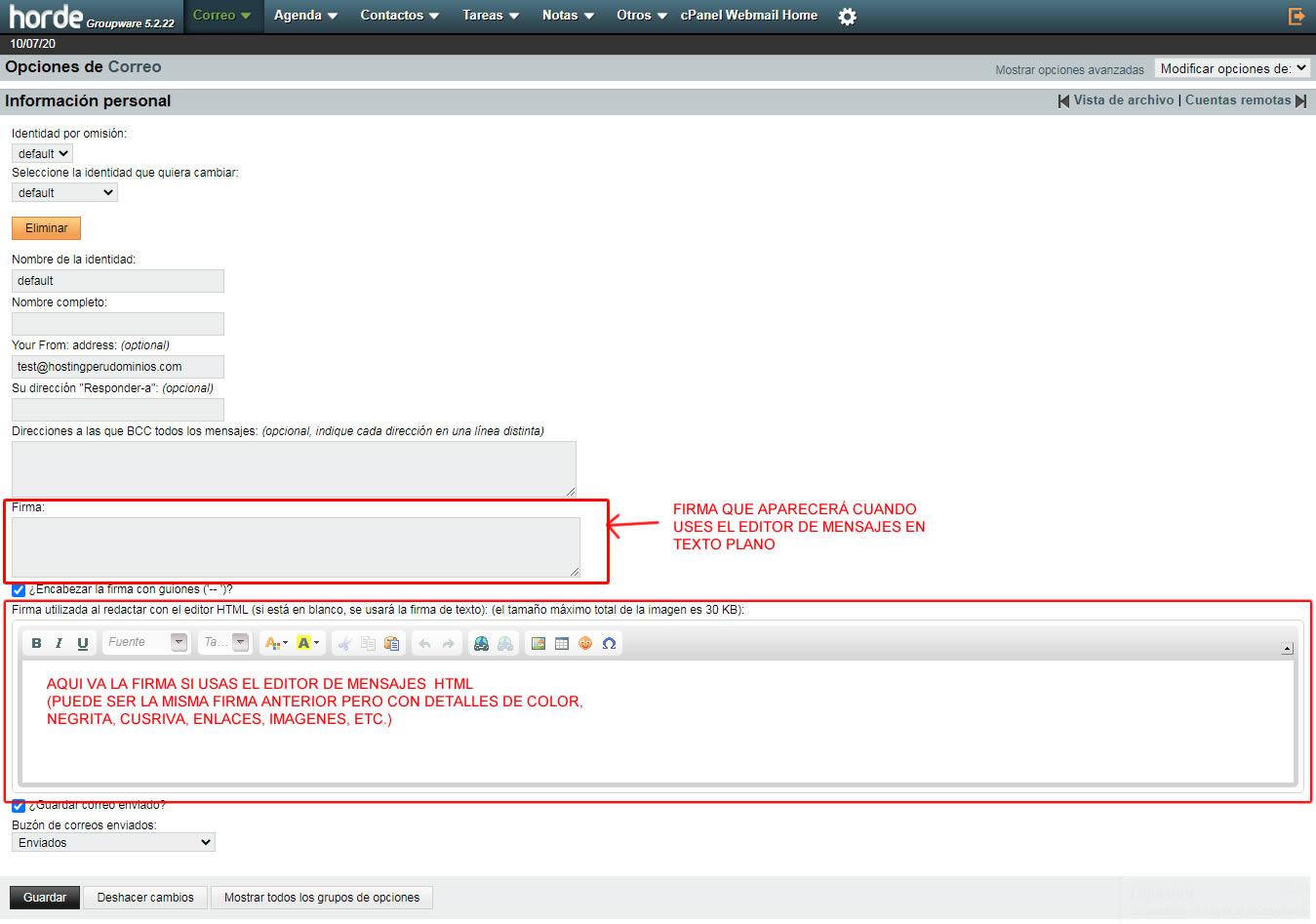 colocar la firma en texto plano o html en webmail
