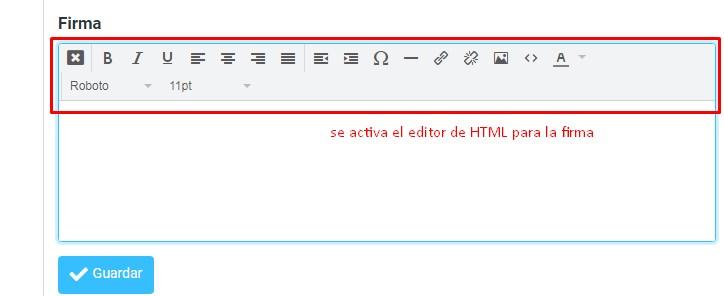 editor de html en firma