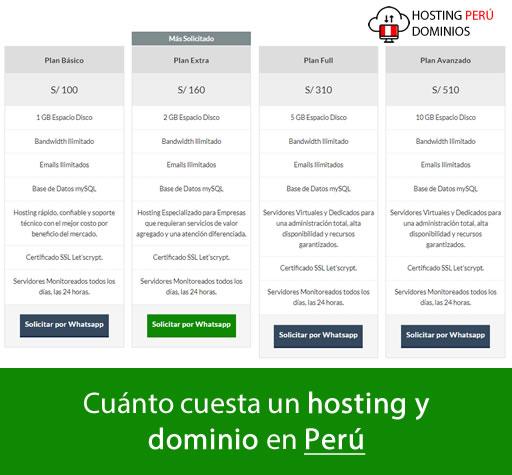 Cuanto cuesta un hosting y dominio en Perú